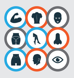 Body icons set with nose arm back and other view vector