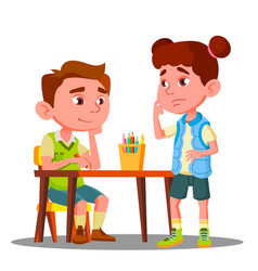 Boy drawing with colored pencils and offended girl vector