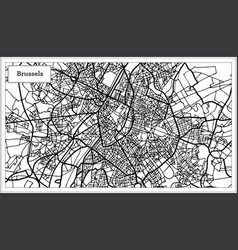 Brussels belgium map in black and white color vector