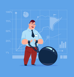 business man chain bound hands credit debt finance vector image