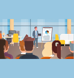Business seminar businessman leading presentation vector