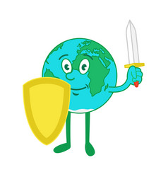 Cartoon character earth with shield and sword vector