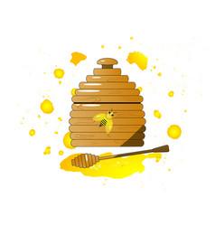 Cartoon pot with wooden honey vector