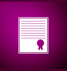 certificate template icon on purple background vector image