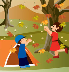 children in camping vector image vector image