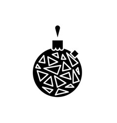 christmas ball black icon sign on isolated vector image