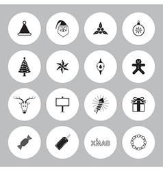 Christmas icon set circle vector image