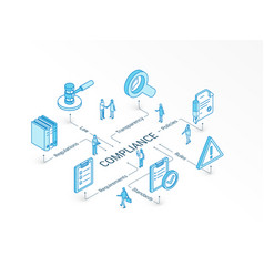 Compliance isometric concept connected line 3d vector