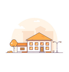 Cottage house - modern thin line design style vector