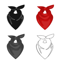 Cowboy bandana icon in cartoon style isolated on vector