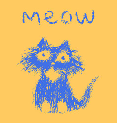 cute fur cat says meow vector image