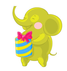 Cute green elephant laughs and rejoices at the vector