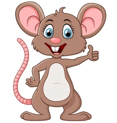Cute mouse cartoon thumb up vector