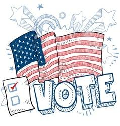 Doodle americana vote vector