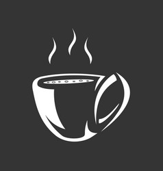 emblem of cup of coffee with steam for menu design vector image