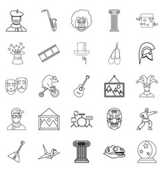 Exposition icons set outline style vector