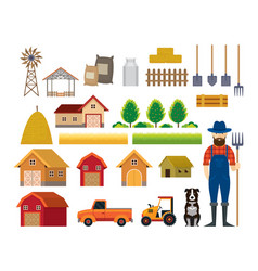 Farm objects farmer with dog flat set vector