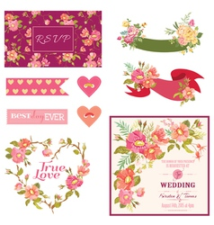 Floral Wedding Set - for Wedding Decoration vector image