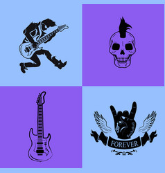 forever rock music icons vector image