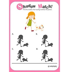 Game template with shadow matching girl vector
