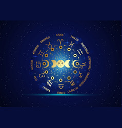 gold wheel zodiac signs and triple moon vector image