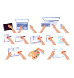 hands with computers and notebooks vector image