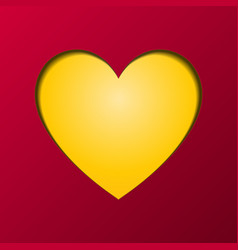 happy valentines day greeting card yellow heart vector image