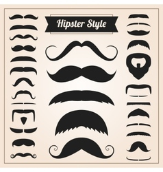 Hipster style mustache set vector