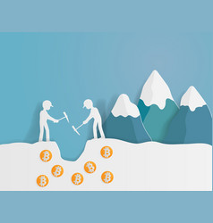 human mining for bit coins paper art vector image