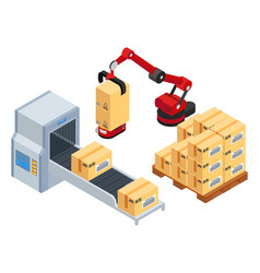 Industrial machine robot put boxes from conveyor vector