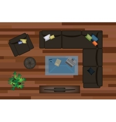 Interior icons top view with sofa armchair couch vector