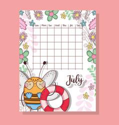 July calendar with cute bee animal vector