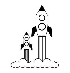 launch rockets spaceship vector image