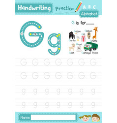 Letter g uppercase and lowercase tracing practice vector