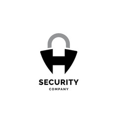 letter h security symbol logo design templa vector image