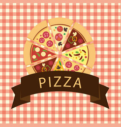 Light brown pizza with ribbon vector