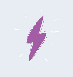 lightning icon on white vector image