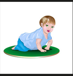 little baby crawling on the mat vector image
