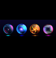 Magic spheres glowing crystal balls vector
