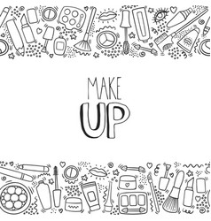 make up doodle horizontal pattern with lipstick vector image