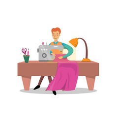 male dressmaker sewing clothes by sewing machine vector image