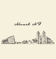newark skyline new jersey usa sketch vector image