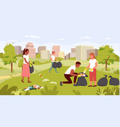 people clean dirty city park nature save ecology vector image