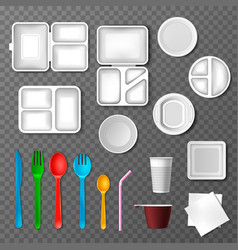 plastic tableware picnic disposable cutlery vector image