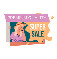 Premium quality super sale banner with beautiful vector