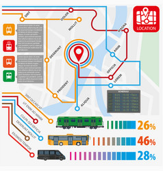 Public transport routes stations statistics vector