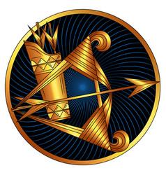 Sagittarius golden zodiac sign horoscope symbol vector
