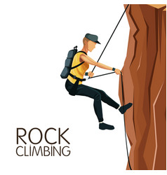 Scene man mountain descent with harness rock vector