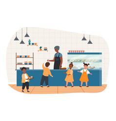 school canteen with children vector image