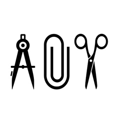 Scissors clip and compass silhouette vector
